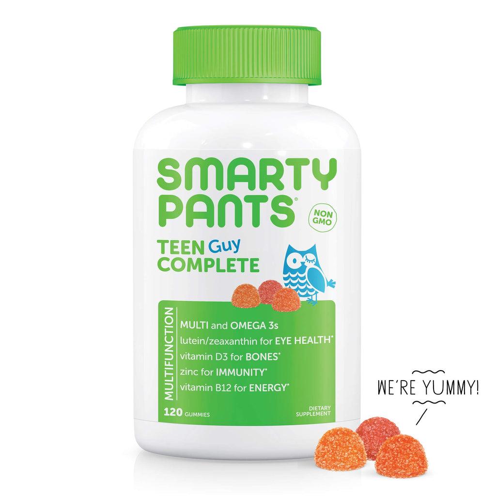 SmartyPants Teen Guy Complete Daily Gummy Vitamins: Multivitamin, Gluten Free, Vitamin D3, Lutein/Zeaxanthin for Eyes*, Omega 3 Fish Oil (DHA/EPA), Folate (Methylfolate), 120 Count (30 Day Supply)
