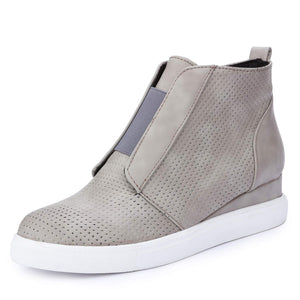 Catata Womens Classic High Top Platform Flat Sports Shoes Casual Slip On Zipper Wedge Sneakers