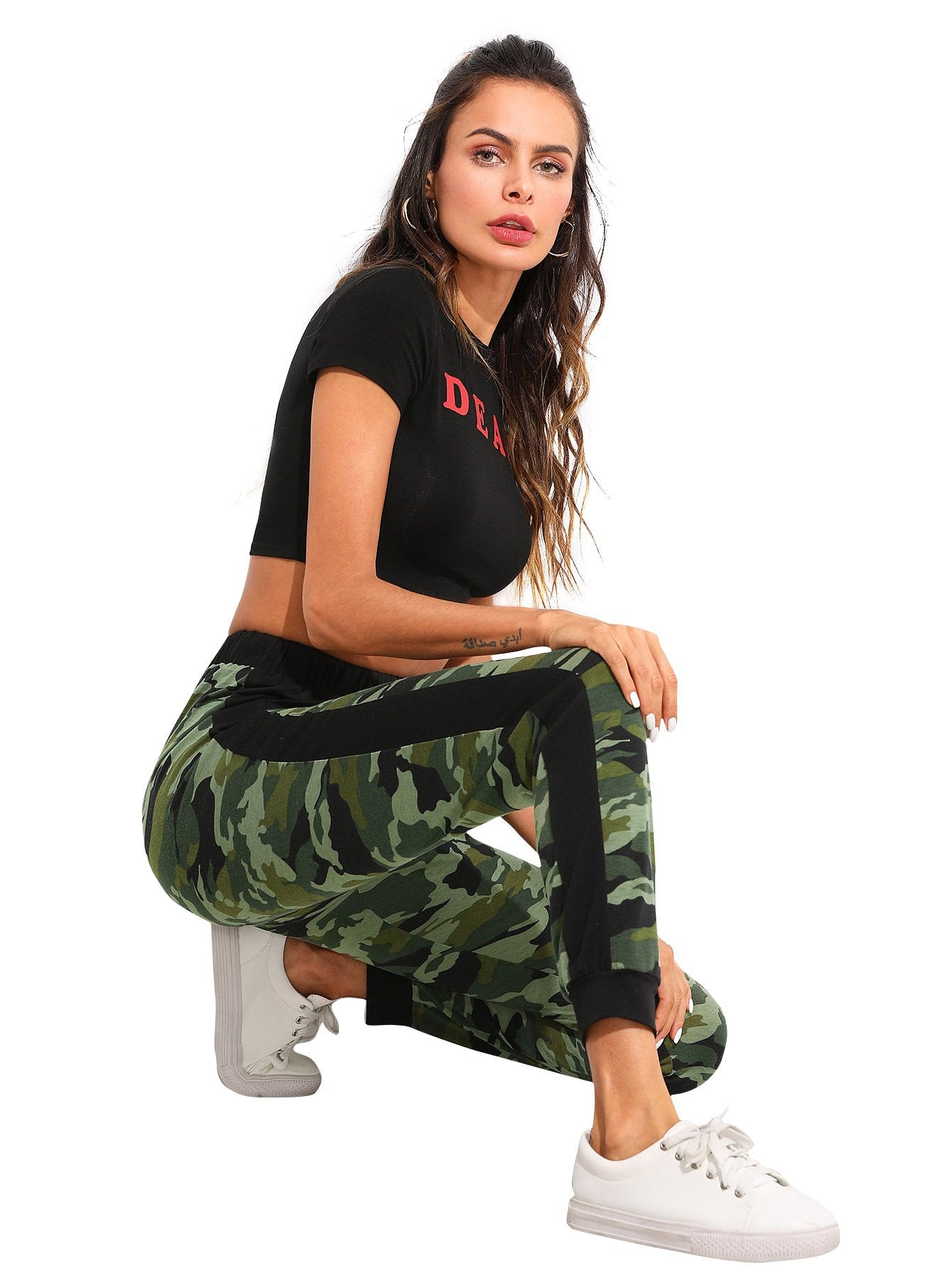 SweatyRocks Women's Drawstring Casual Joggers Pants with Pockets Camo