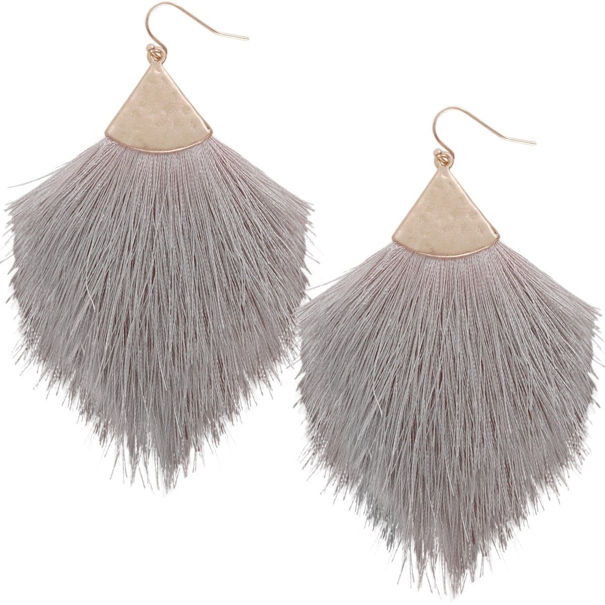 Humble Chic Fringe Tassel Earrings - Lightweight Long Feather