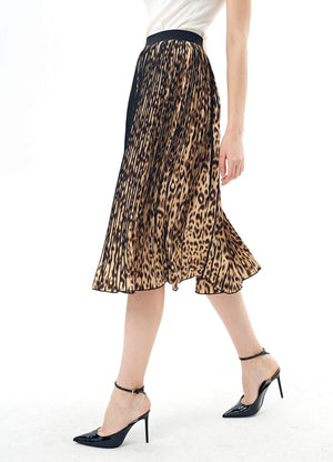 Charis Allure Women's Leopard Chiffon A-Line Pleated Midi Skirt