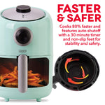 Dash Compact Air Fryer 1.2 L Electric Air Fryer Oven Cooker with Temperature Control, Non Stick Fry Basket, Recipe Guide + Auto Shut off Feature - Aqua