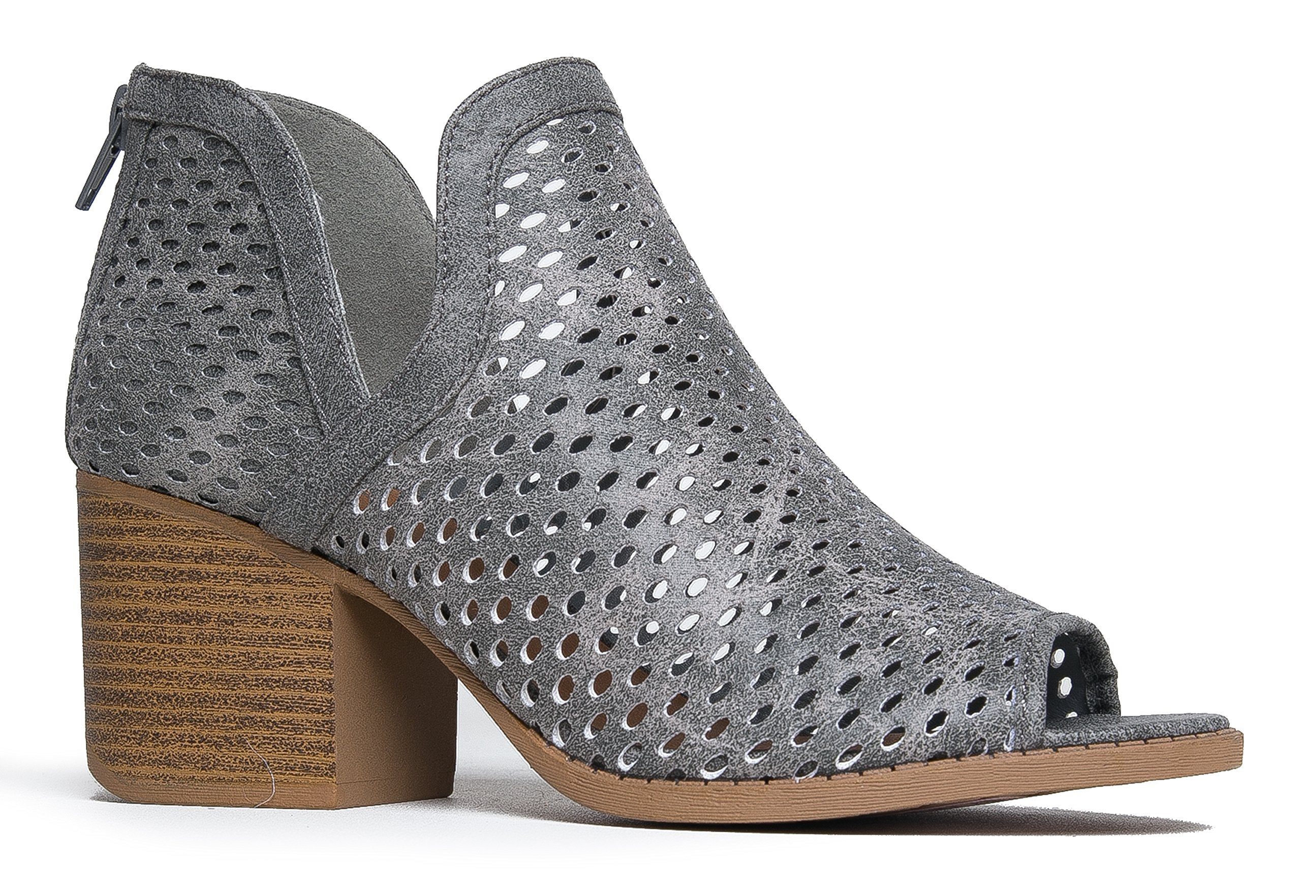 J. Adams Perch Perforated Bootie - Distressed Leather