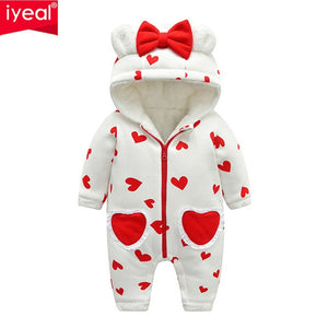 2187b6794e7b5 IYEAL Newest Baby Rompers Winter Baby Girls Clothes Cute Hooded Soft Warm  Fleece Newborn Toddler Overalls Kids Infant Jumpsuits