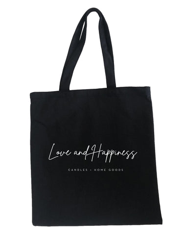Love and Happiness Black Tote
