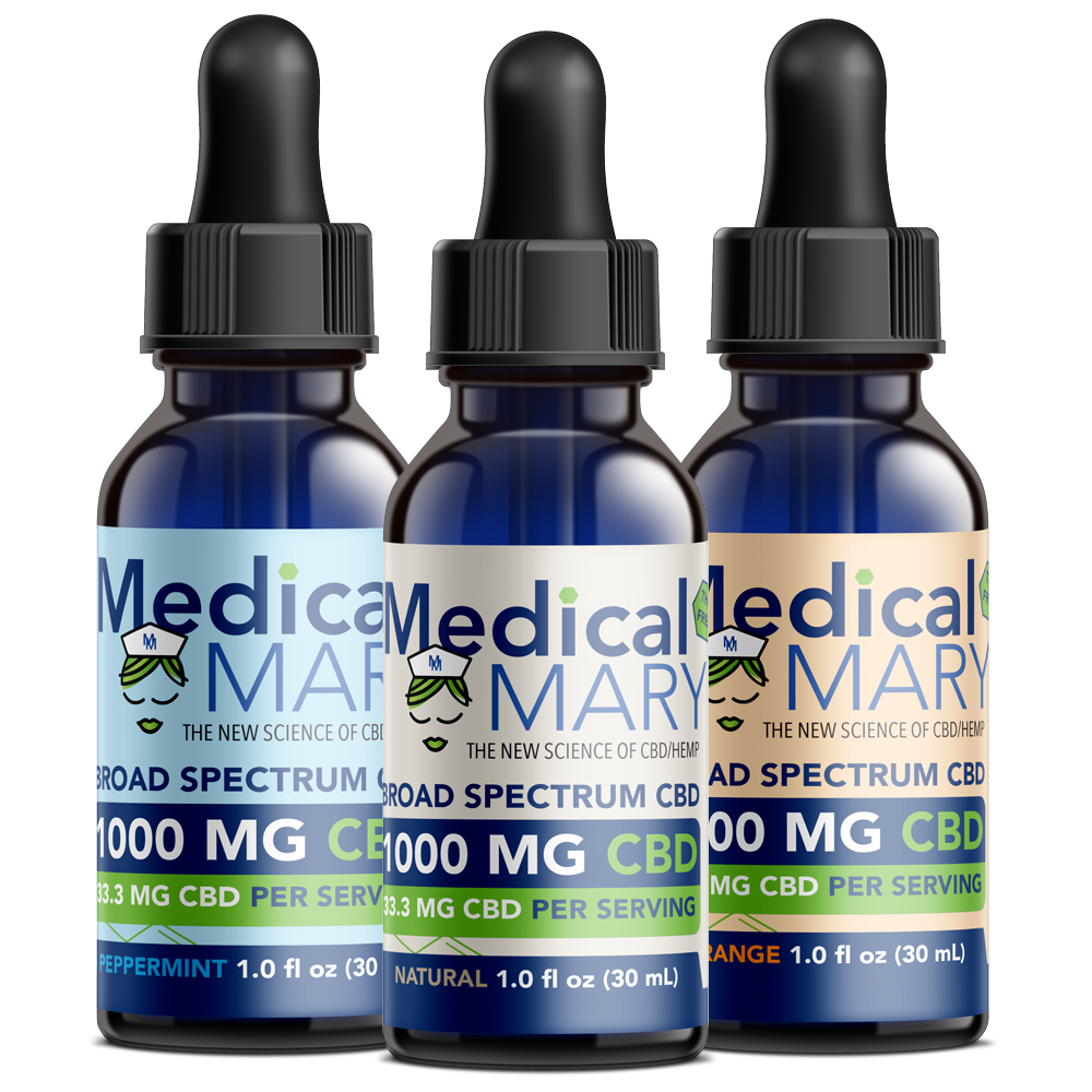 Broad Spectrum CBD Oil – 1000 MG – Natural / Orange / Peppermint Flavors
