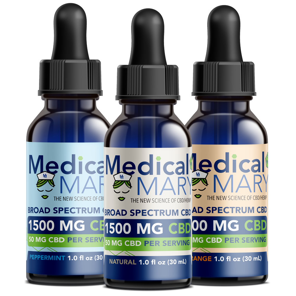 Broad Spectrum CBD Oil – 1500 MG – Natural / Orange / Peppermint Flavors