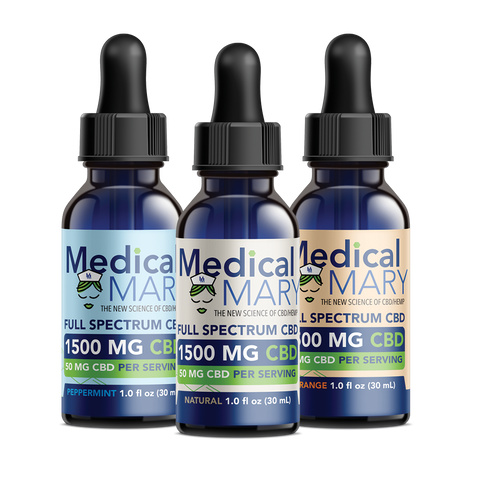 Full Spectrum CBD Oil – 1500 MG – Natural / Orange / Peppermint Flavors