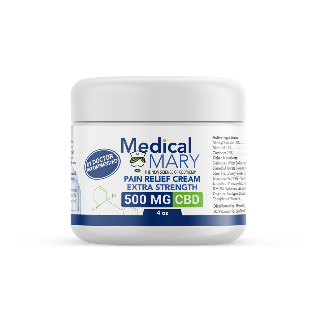 Pain Relief Cream with Arnica, Eucalyptus, Vitamin E – 500 MG CBD