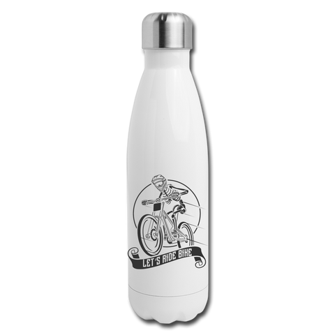Let's Ride Bike Insulated Water Bottle - white