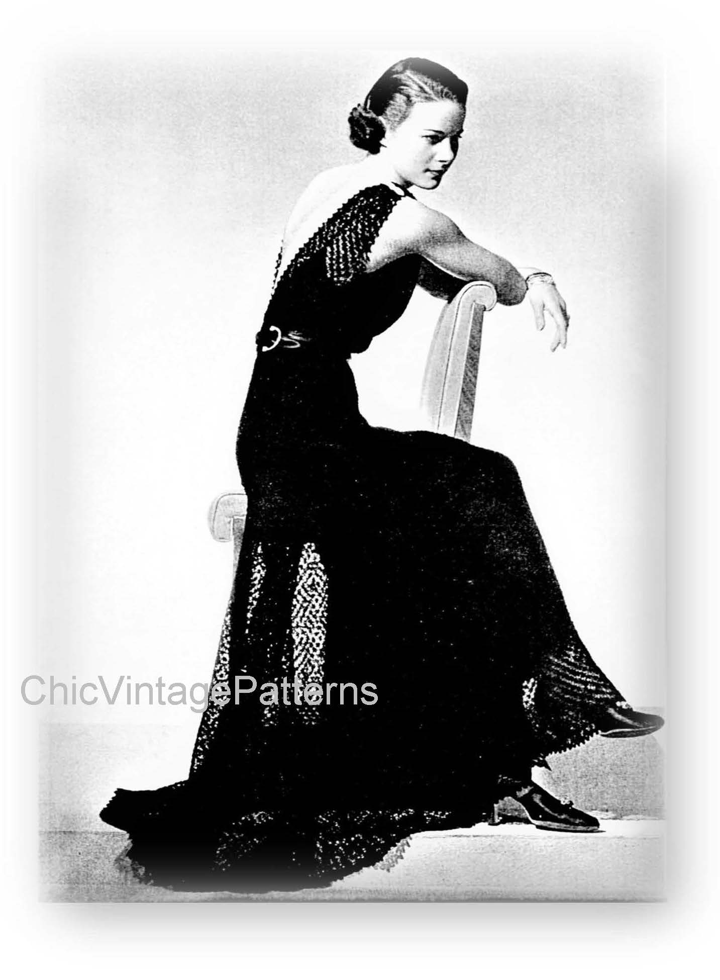 1930's Knitted Dress, Delicate Lace, Stunning, Digital Download