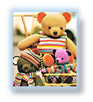 Crochet Teddy Bears Pattern, Three Teddy Bears, Instant Download