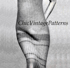 Knitted Dress Pattern, Ladies Ankle-Length Singlet Dress, Digital Download