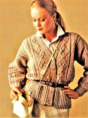 Knitted Aran Cardigan Pattern, Ladies Jacket, Instant Download