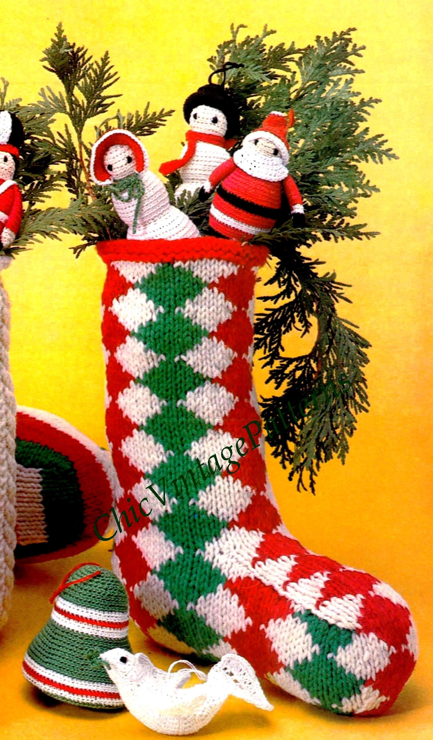 Christmas Stocking Knitting Pattern, Argyll Stocking, Instant Download Pattern