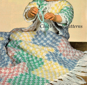 Babies Crochet Blanket, Hat and Jacket Pattern, Instant Download