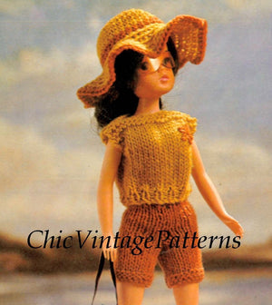 Knitted Doll's Beach Clothes Pattern, 11 inch Doll, Instant Download