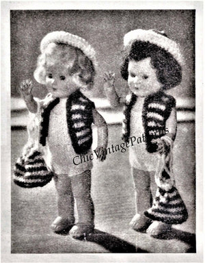 Knitted Doll's Clothes Pattern, 6.1/2 inch Doll, Instant Download