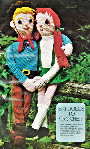 Crochet Dolls, Big Girl Doll and Boy Doll, Vintage Crochet Toy Pattern, Instant Download