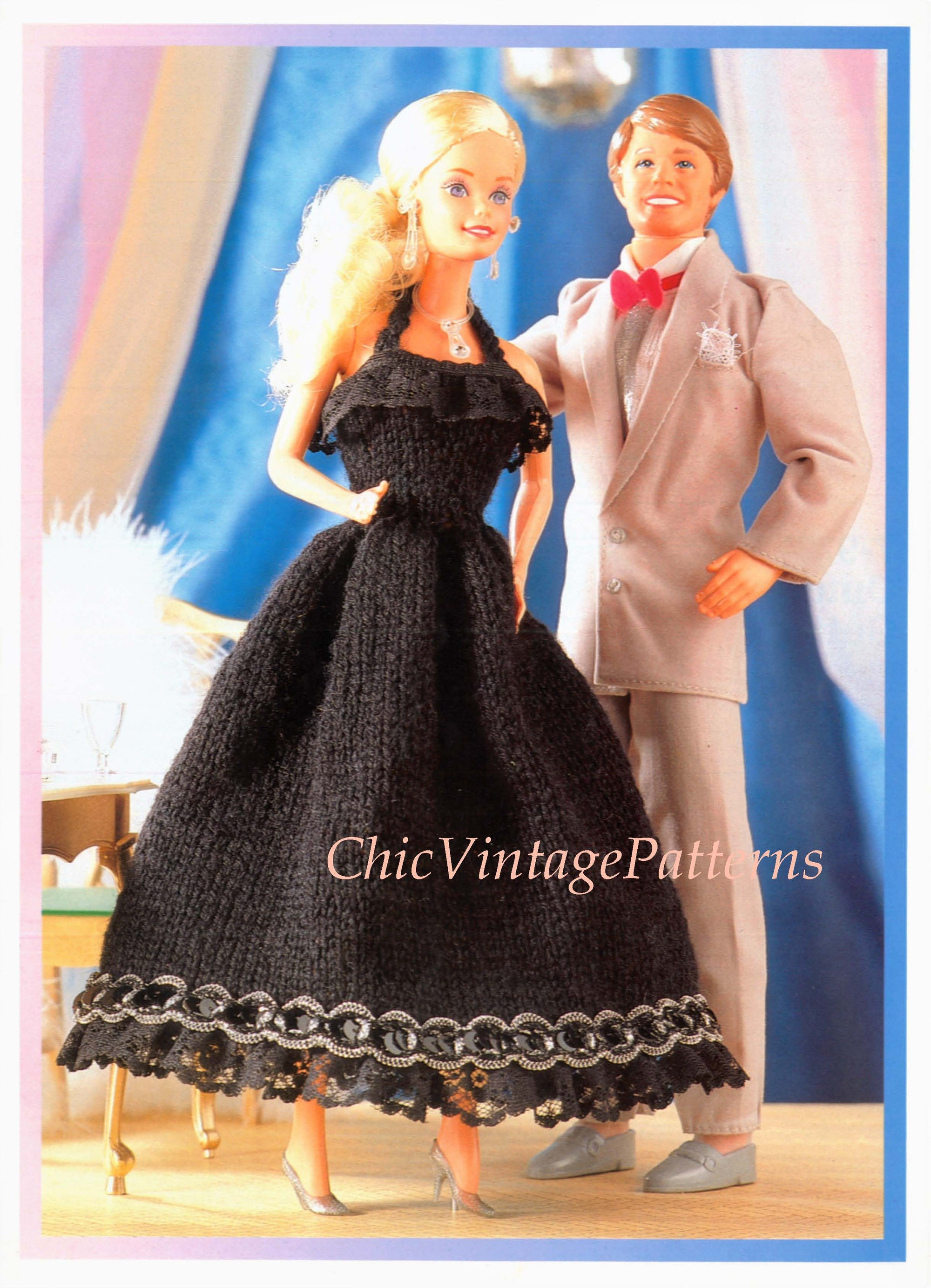 Digital Pattern, Easy Knitted Doll's Evening Dress, 11-13 inch Doll