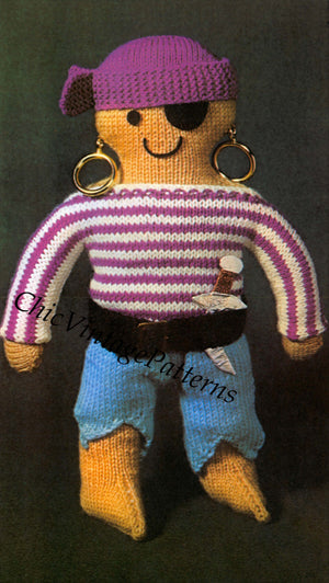 Pirate Doll Knitting Pattern, Soft Toy, Instant Download