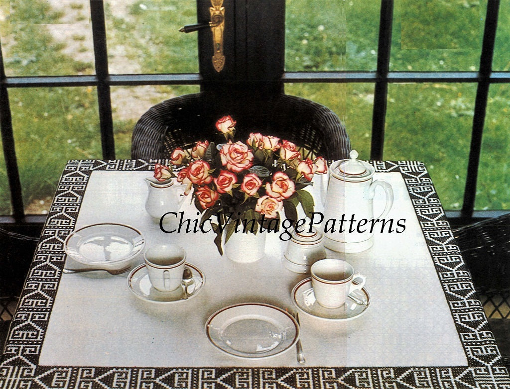 Cross Stitch Tablecloth Border Pattern, Instant Download