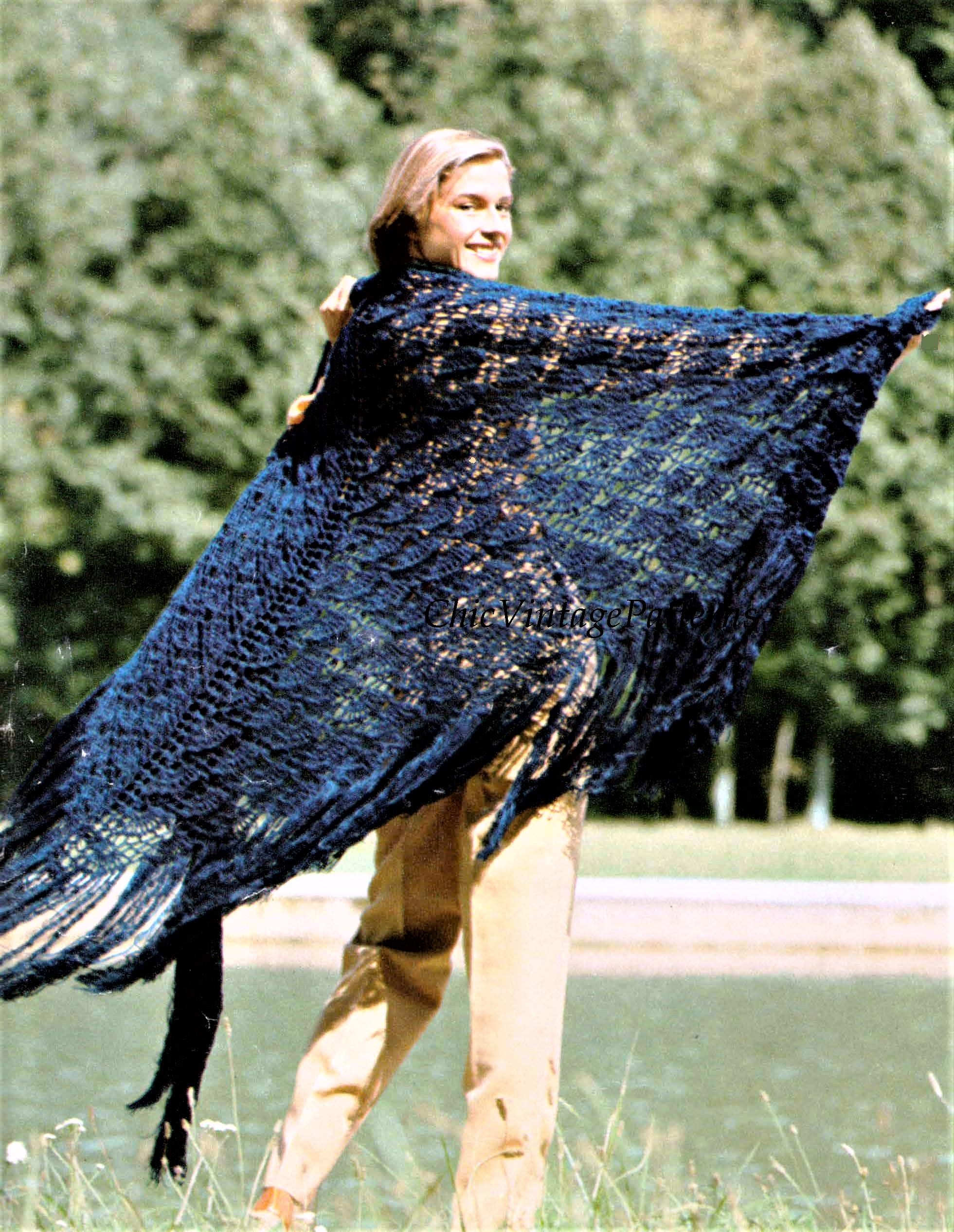 Crochet Lacy Shawl Pattern, Crochet Shell Stitch Triangular Wrap, Instant Download