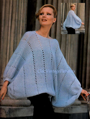 Knitted Sweater, Dramatic Party Top, Instant Download Pattern, Batwing Sleeves