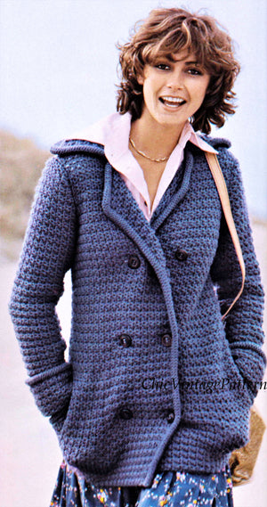Ladies Double Breasted Crochet Jacket Pattern, Casual Coat, Digital Pattern