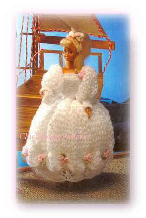 Knitted Doll's Clothes Pattern, Bridal Dress, Instant Download