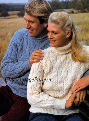 His & Her Knitted Jumpers, Ladies and Men's Sweaters, Instant Download