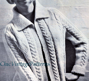 Ladies Aran Cardigan Knitting Pattern, Instant Download