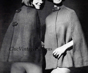 Ladies Knitted Cape Pattern, 1960's Vintage Pattern, Instant Download