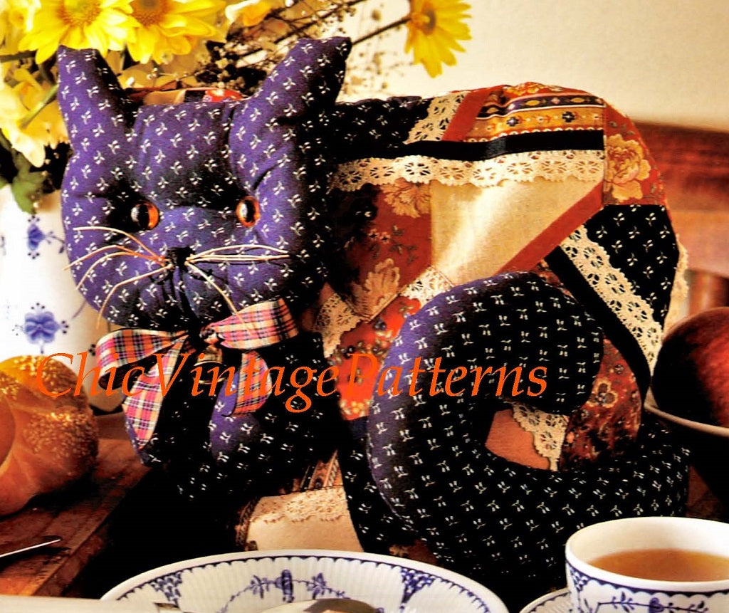 Cat Tea Cosy Sewing Pattern, Crazy Patchwork, Digital Download