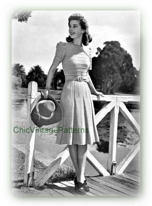 1940's Ladies Knitted Dress Pattern, Short or Long Sleeves