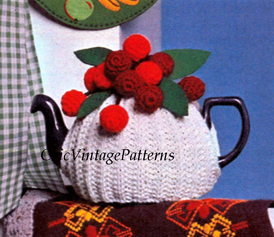 Vintage Knitted Tea Cosy Pattern, Crochet Cherries, Instant Download