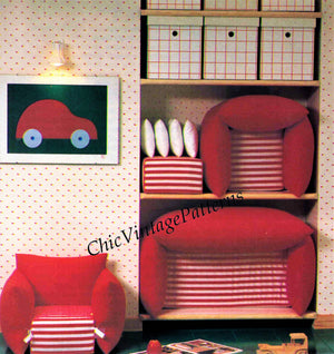 Children's Furniture Sewing Pattern, Sofa and Chair, Instant Download