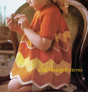 Child's Knitted Dress Pattern, Chevron Striped Dress, Digital Download