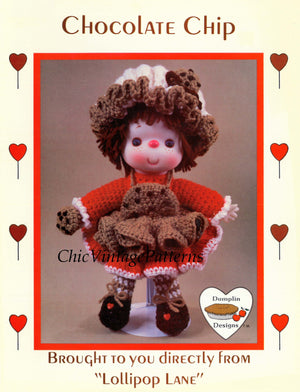 "Lollipop Lane Doll Pattern, ""Chocolate Chip"", Instant Download"