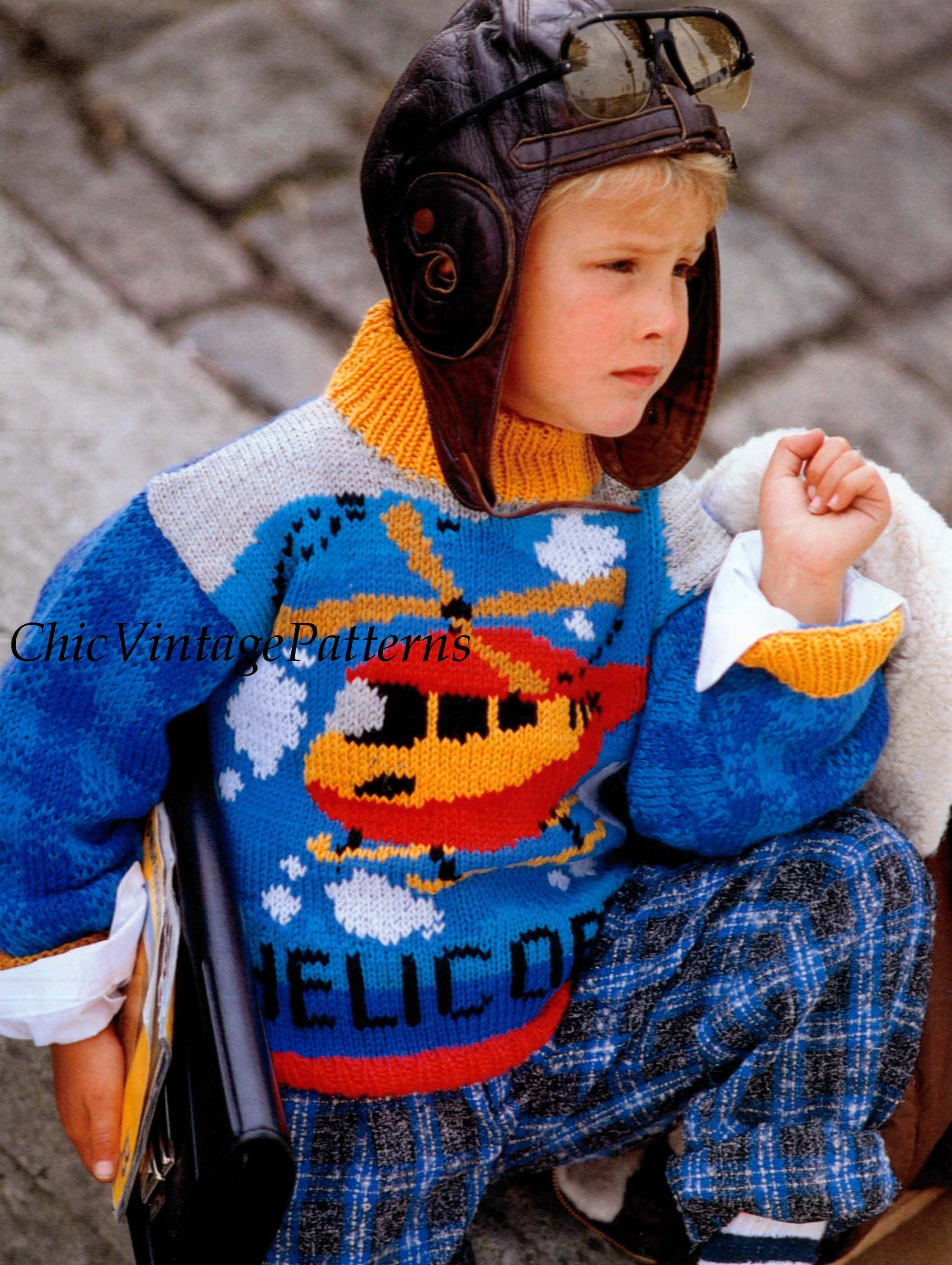 Knitted Children's Sweater Pattern, Helicopter Jumper, Instant Download
