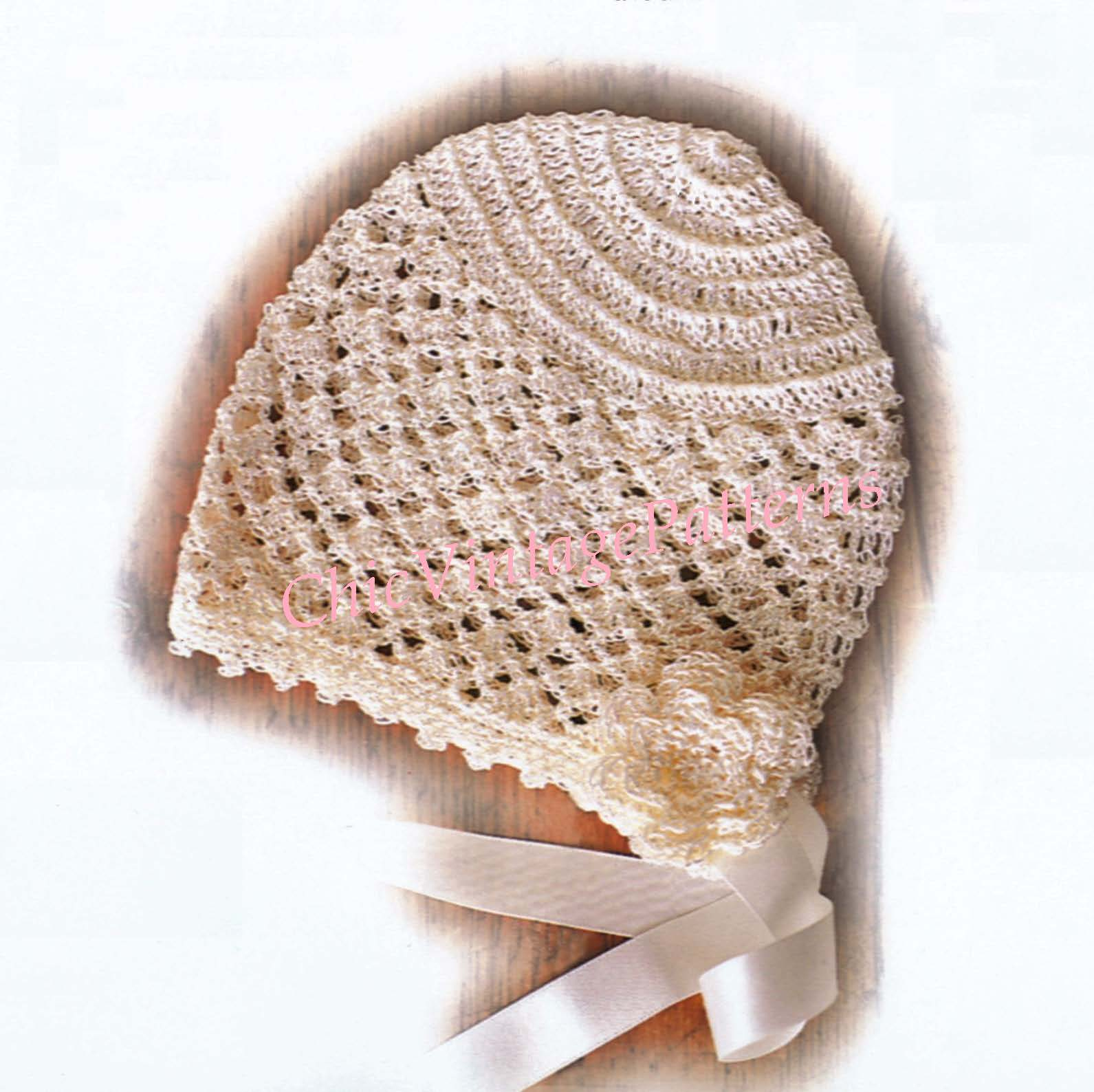 Babies Christening Bonnet Crochet Pattern, Instant Download