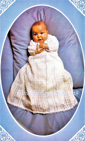 Babies Knitted Dress, Christening Dress, Instant Download Knitting Pattern