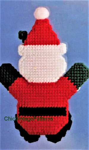 Plastic Canvas Christmas Santa Pattern, Instant Download