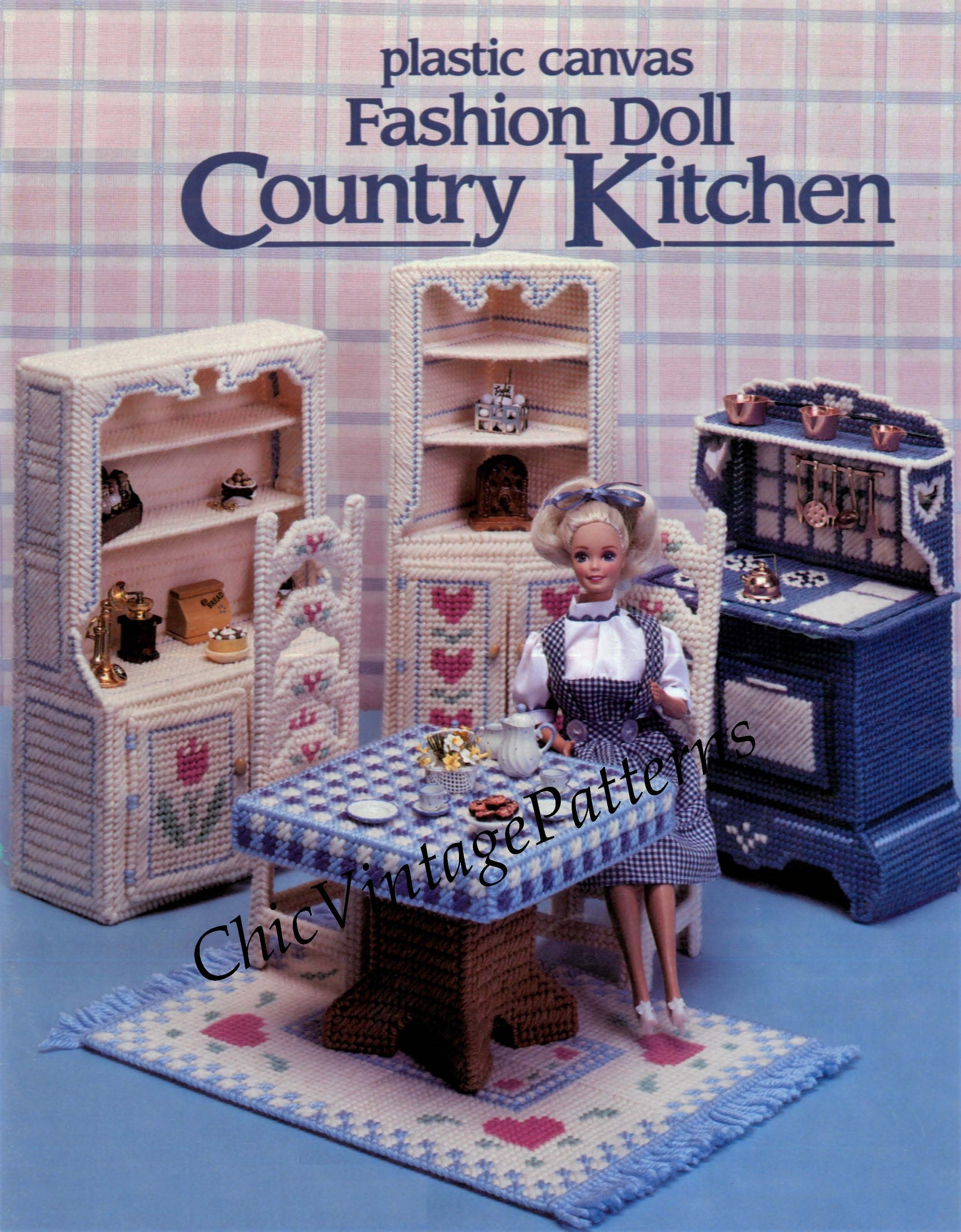 Plastic Canvas Country Kitchen Pattern, Fashion Doll, Instant Download