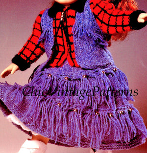 Dolls Dress Knitting Pattern, Cowgirl Dress, Instant Download