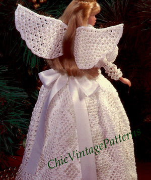 Crochet Doll Angel Dress Pattern, Christmas Decoration, 11.5 inch Doll, Instant Download