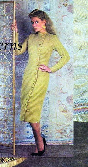 Ladies Crochet Dress Pattern, Slim Oriental Coat Style, Digital Pattern