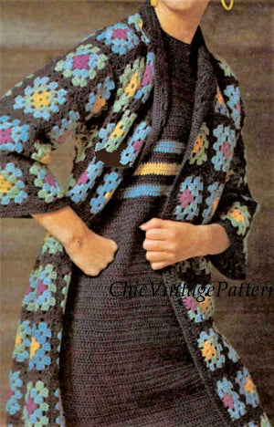 Crochet Coat and Dress Pattern, Instant Download, Granny Square Motif Coat