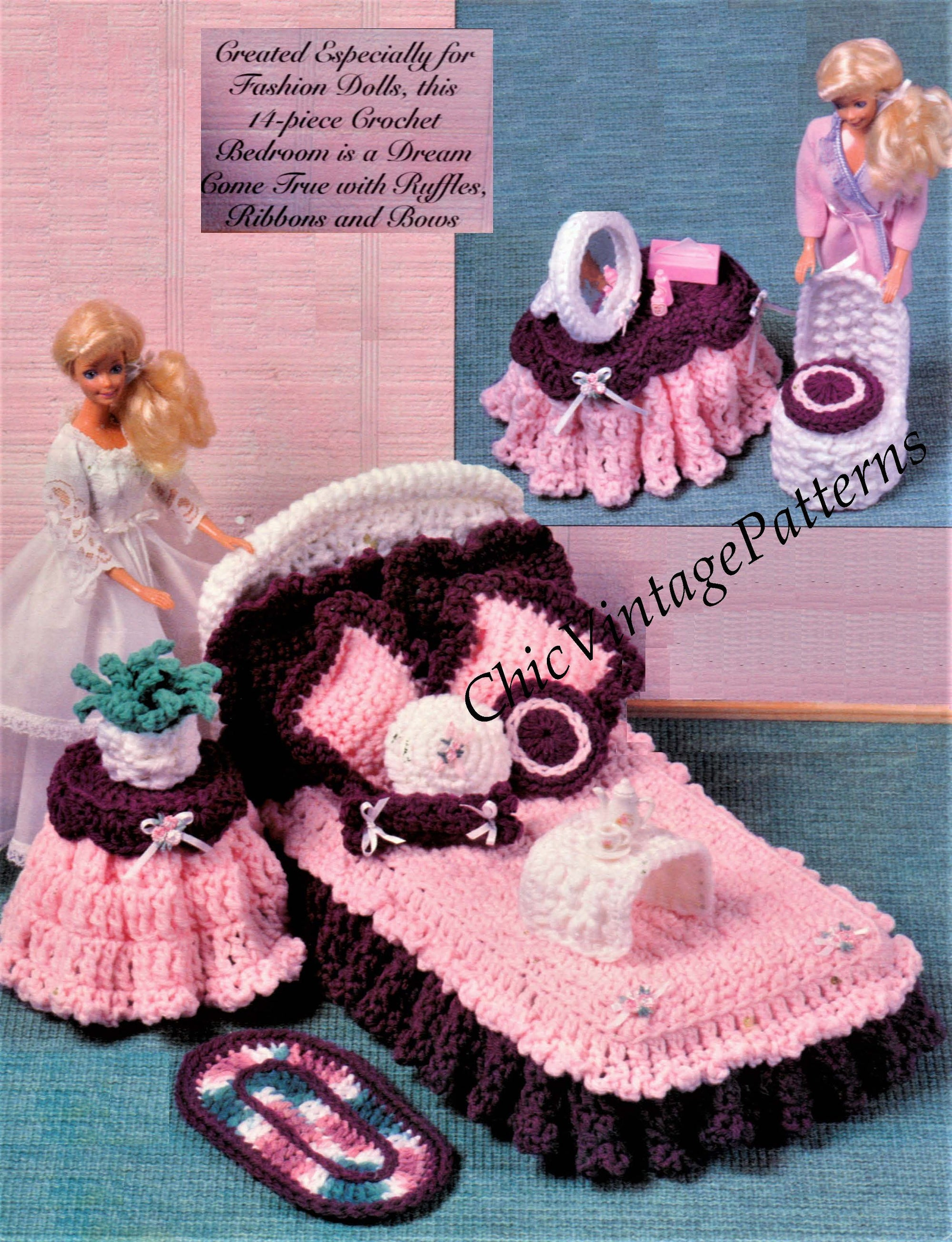 Fashion Doll's Bedroom Furniture Crochet Pattern, Instant Download