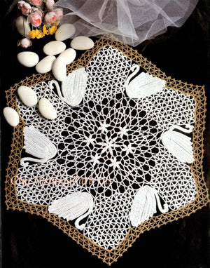 Crochet Swan Doily Pattern, Table Centrepiece, Digital Download